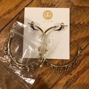 Medium/large gold fringe hoop earrings